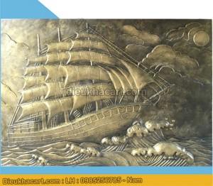 Tranh phù điêu 3d thuyền buồm xuôi gió trang trí tiểu cảnh hiện đại