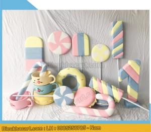 Mô hình xốp mút 3d sinh nhật bánh kẹo chụp ảnh cho bé tại hà nội