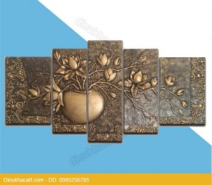 tranh phì điêu bộ hoa trang trí mặt tiền hiện đại đẹp