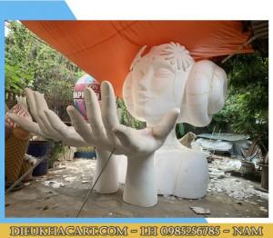 Mô hình xốp cô gái 3d cao 4m tại điêu khắc art