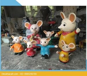 Mô hình xốp mút 3d gia đình chuột trang trí sự kiện 2020